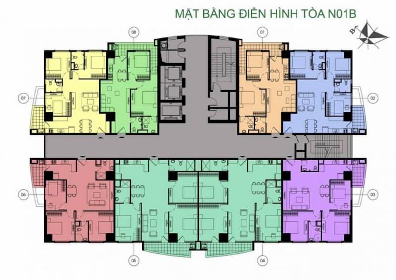 Mặt bằng điển hình tòa N01B dự án chung cư K35 Tân Mai