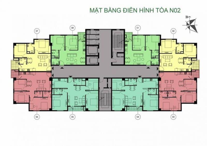 Mặt bằng điển hình tòa N02 dự án chung cư K35 Tân Mai