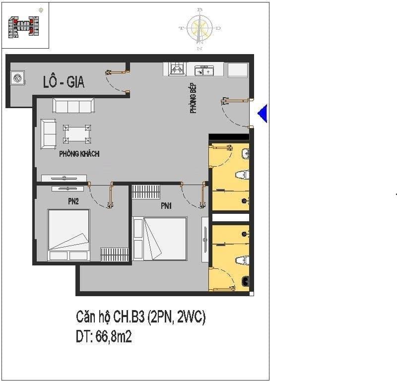 Mặt bằng thiết kế các căn hộ ở B3