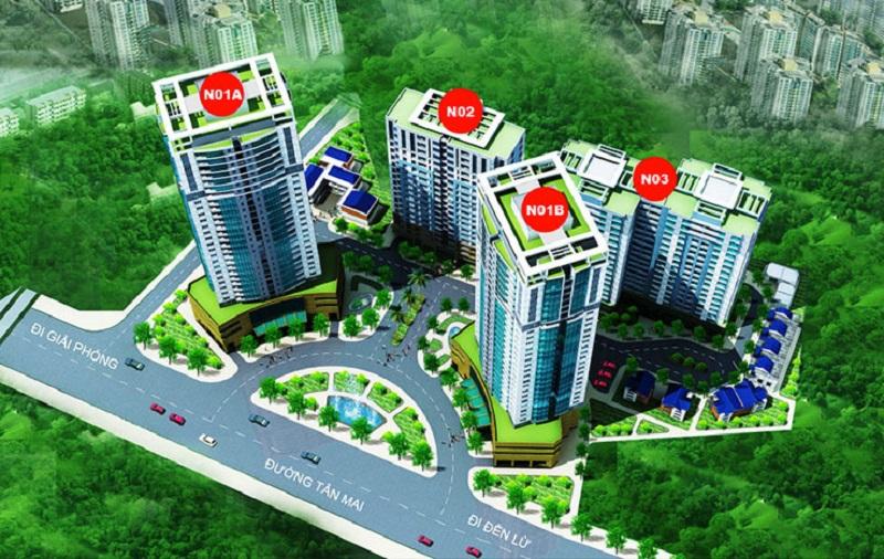 Mặt bằng tổng thể dự án K35 Tân Mai được thiết kế với 4 tòa nhà được bố trí hợp lý