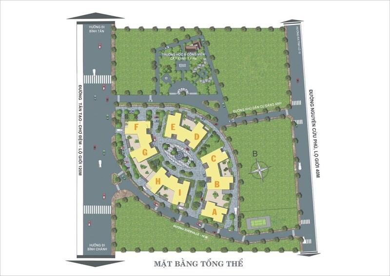 Mặt bằng dự án căn hộ chung cư Bình Tân Moonlight Park View