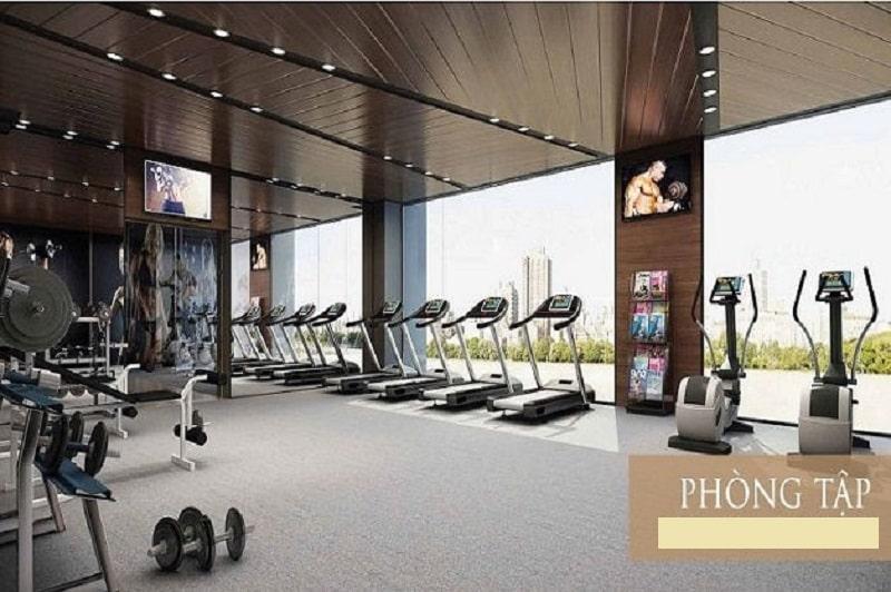 Phòng Gym đầy đủ trang thiết bị, không gian tập luyện rộng rãi, thông thoáng