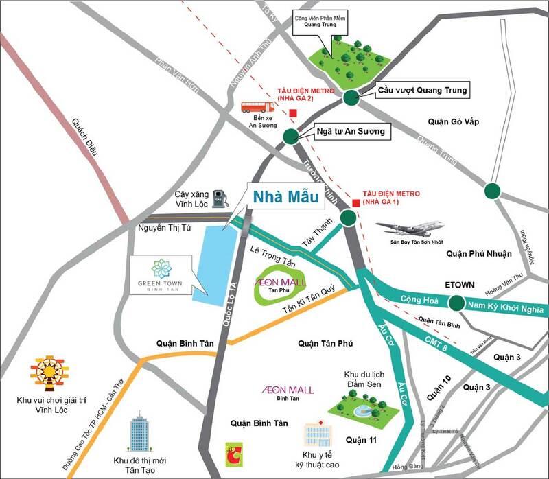Vị trí dự án căn hộ chung cư Bình Tân Green Town