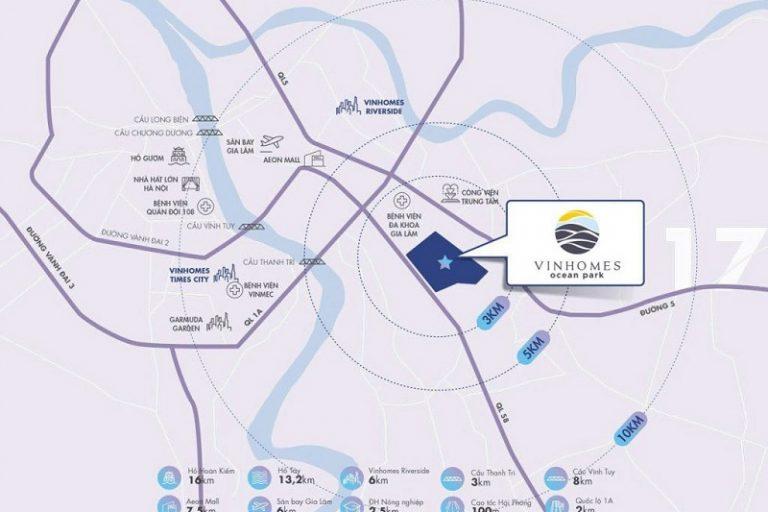 Ảnh 2: Masteri Ocean Park nằm ở vị trí trung tâm của KĐT Vinhomes Ocean Park