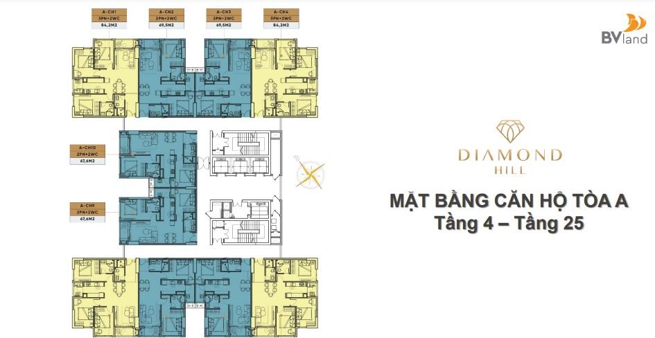 Thiết kế căn hộ linh hoạt từ 2 – 3 PN, 2 WC, tất cả các căn hộ đều có 2 logia