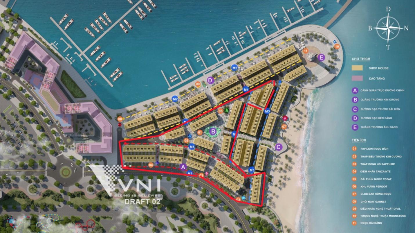 Tổng cộng có 230 căn Shophouse trong quần thể Dự án Sun Marina Plaza