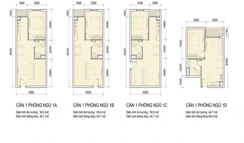 Thiết kế các căn hộ 1 phòng ngủ