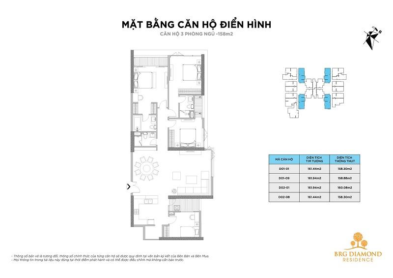 Căn hộ 3 phòng ngủ BRG Diamond Residence 25 Lê Văn Lương