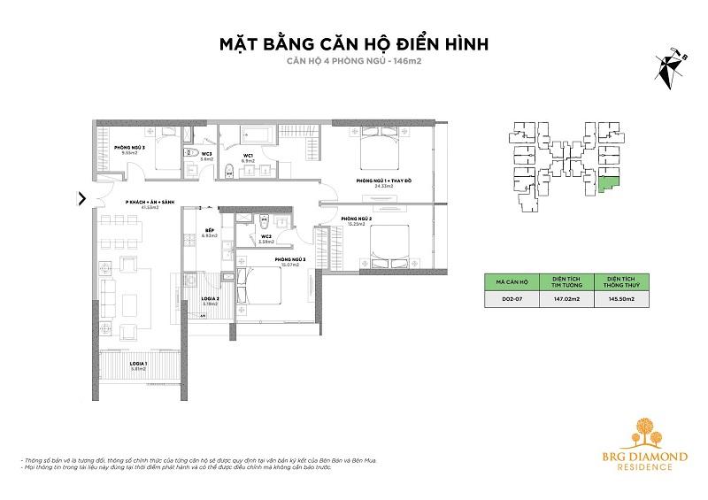 Căn hộ 4 phòng ngủ BRG Diamond Residence 25 Lê Văn Lương